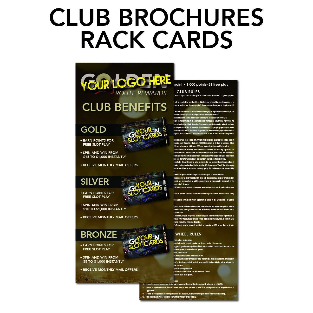 gro route rewards marketing needs club brochures and rack cards