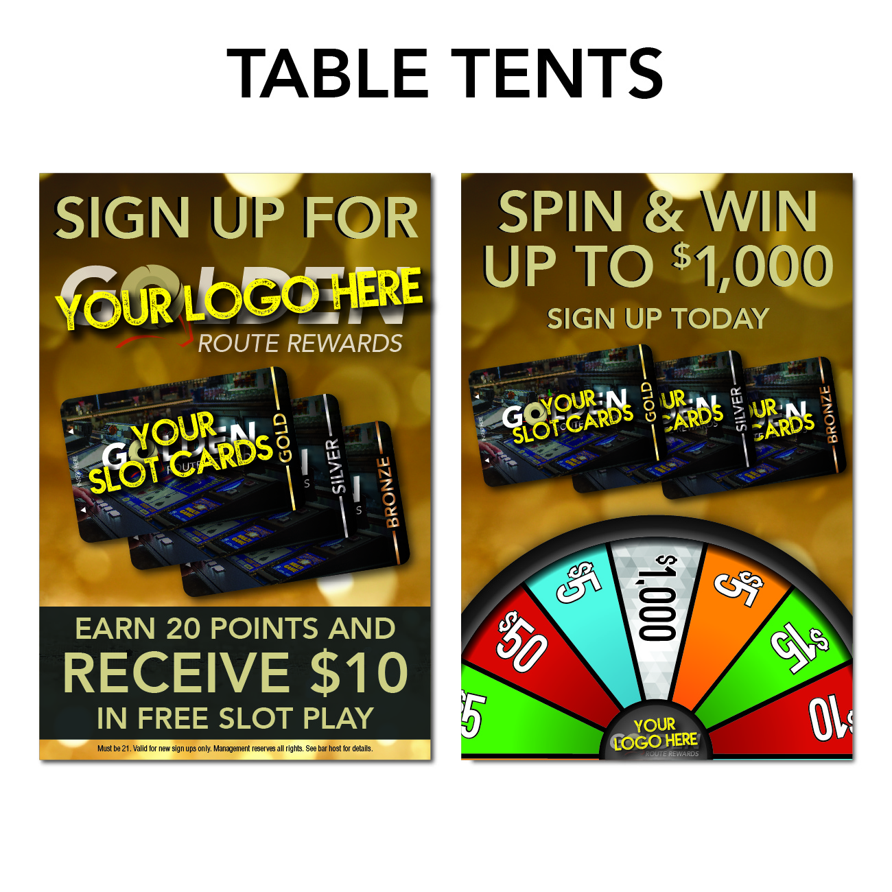 gro route rewards marketing needs table tents